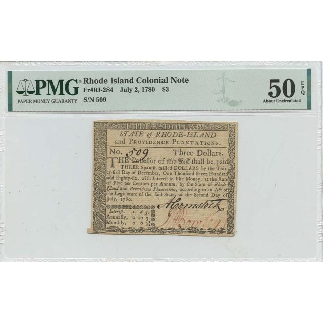 1780 July 2 $3 Rhode Island Colonial Note RI-284 PMG AU50 EPQ Issued