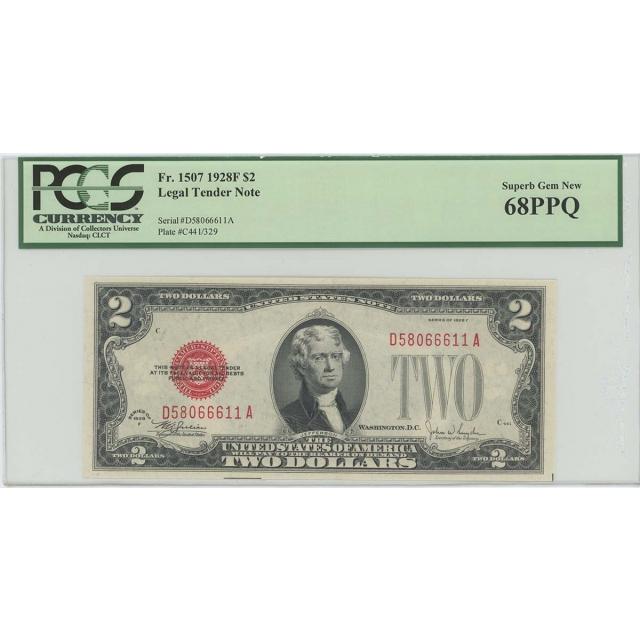 1928F $2 Legal Tender FR#1507 PCGS 68 PPQ Superb Gem