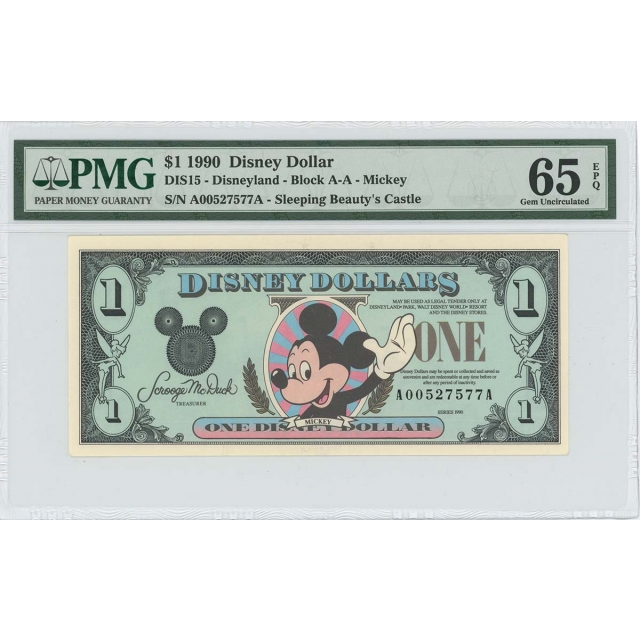 1990 $1 Disney Dollar DIS15 PMG 65 EPQ