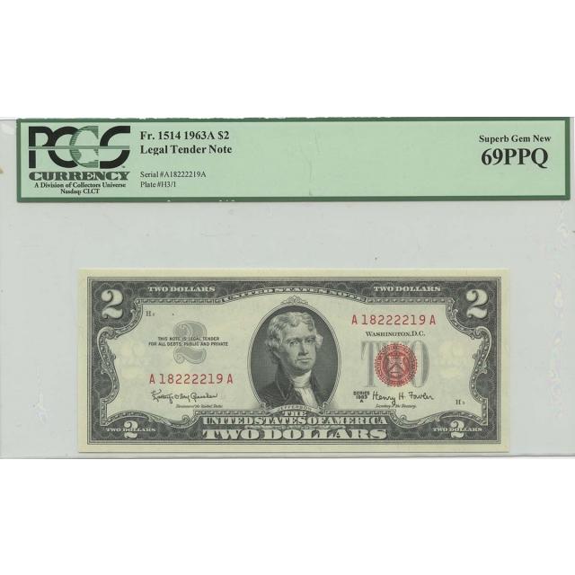 1963A $2 Legal Tender FR#1514 PCGS 69 Superb Gem PPQ