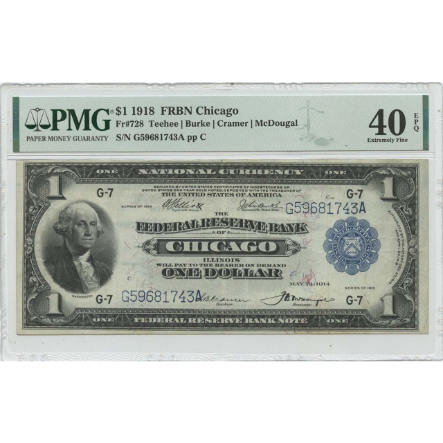 1918 $1 FRBN Chicago Blue Federal Reserve Fr# 728 PMG XF40 EPQ