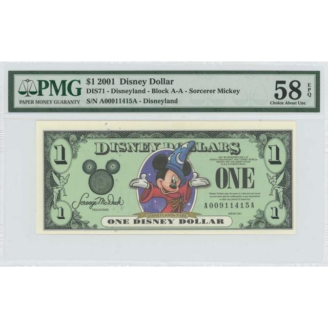 2001 $1 Disney Dollar DIS71 PMG 58 EPQ Fantasia