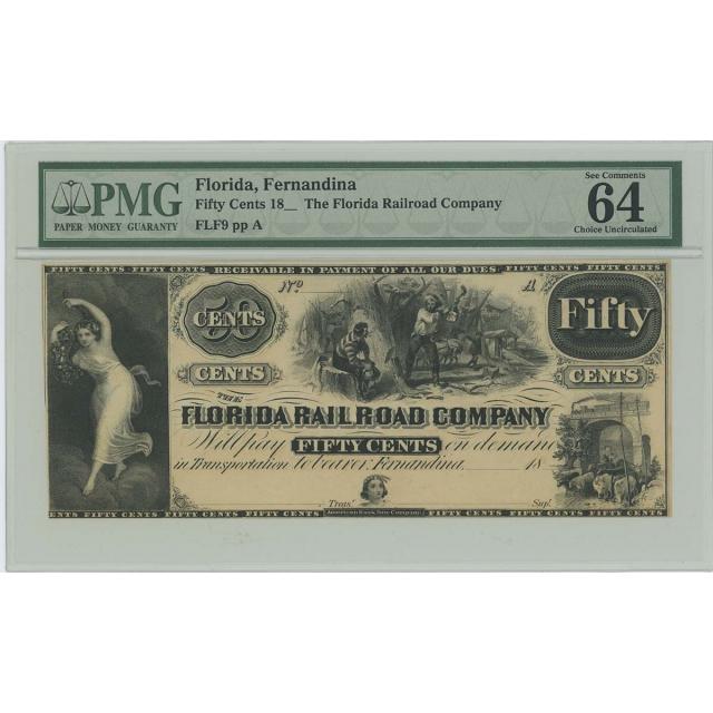 18__ 50C Fernandina Florida Railroad Obsolete Note PMG CU64 EPQ Fifty Cents