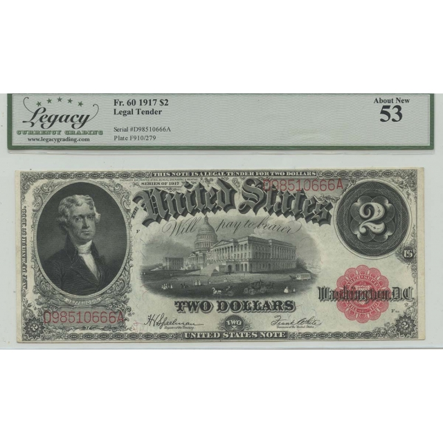 1917 $2 Legal Tender FR#60 Legacy Currency Graders AU53