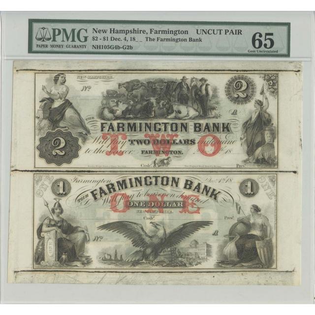 18--'s Dec 4 $2 New Hampshire Farmington Obsolete UNCUT PAIR PMG 65 Gem