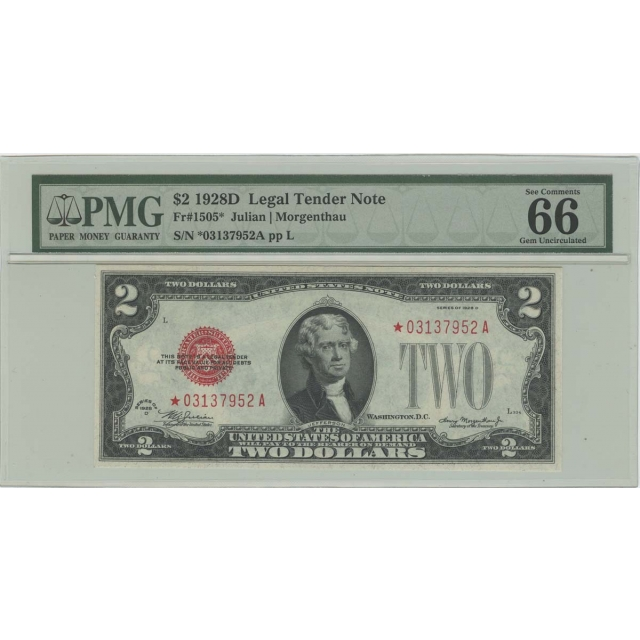 1928D $2 Legal Tender Note FR#1505* Star Note PMG 66 EPQ Gem Unc