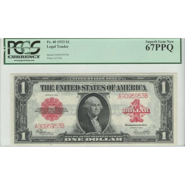 1923 $1 Legal tender FR. 40 PCGS MS67 PPQ Superb Gem New