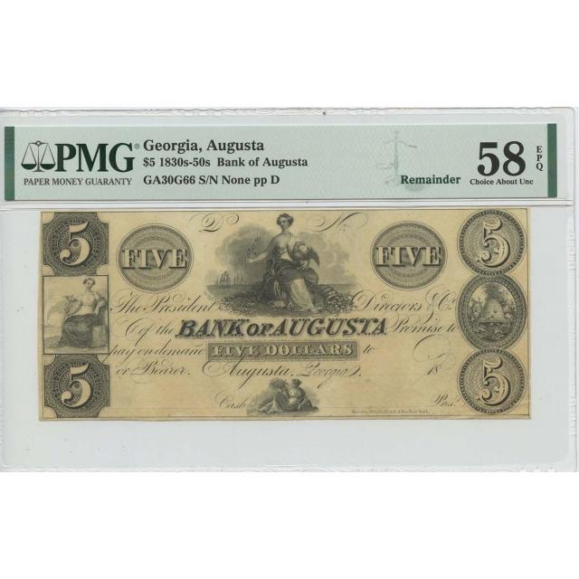 1830s 40s $5 Bank Augusta Georgia FR# GA30G66 PMG 58 CH About Unc EPQ