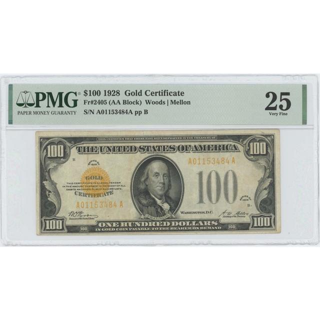 1928 $100 Gold Certificate Gold Woods Mellon Fr# 2405 PMG 25