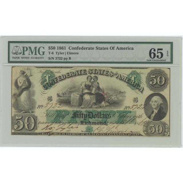 1861 $50 Confederate States CSA T-6 PMG 65 EPQ Gem