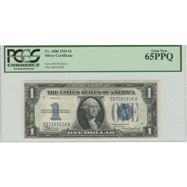 1934 $1 Silver Certificate FR#1606 PCGS 65 PPQ Gem New