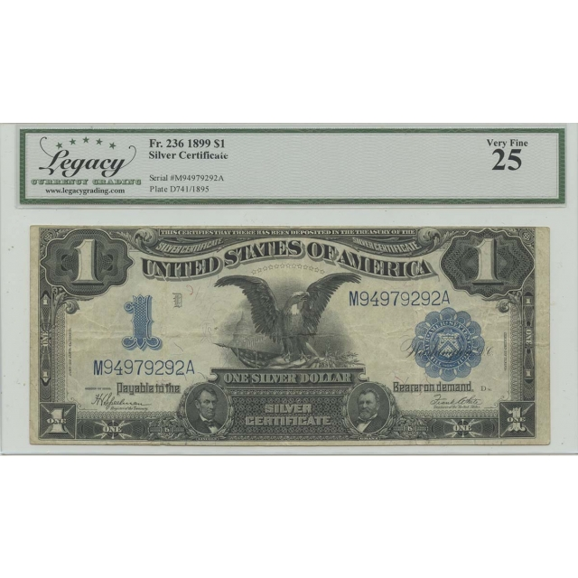 1899 $1 Silver Certificate FR#236 Legacy Currency VF25