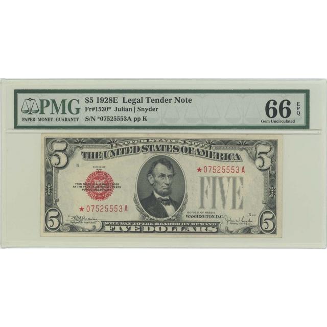 1928E $5 Legal Tender FR#1530* PMG 66 Gem UNC EPQ Star