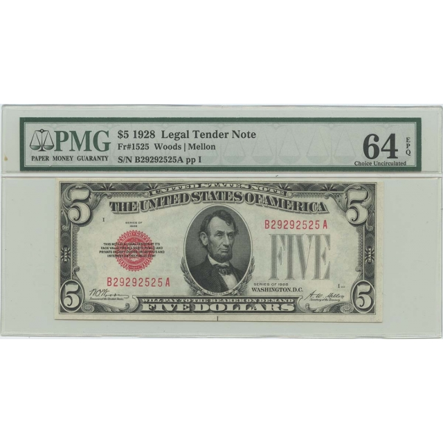 1928 $5 Legal Tender FR#1525 PMG 64 CH UNC EPQ