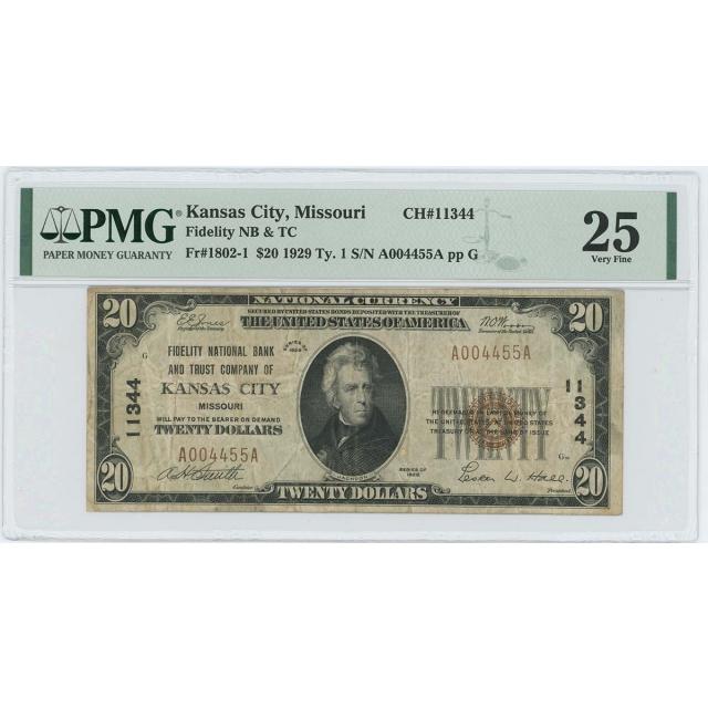 1929 TY1 $20 Fidelity NB Kansas City Missouri CH#11344 PMG VF25