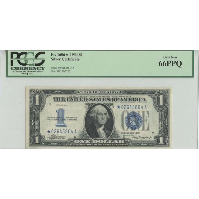 1934 $1 Silver Certificate Star Note FR#1606* PCGS 66 PPQ Gem New