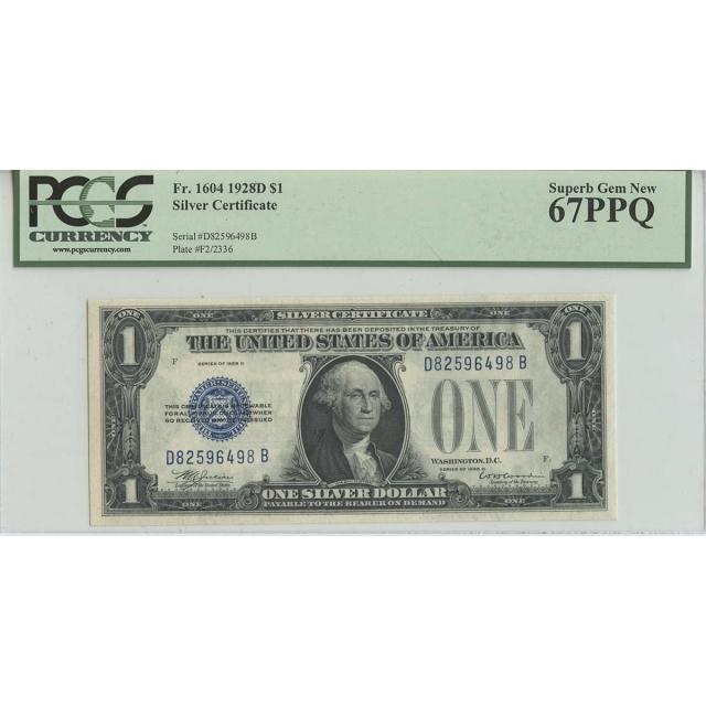 1928D $1 Silver Certificate FR# 1604 PCGS 67 PPQ Superb Gem New
