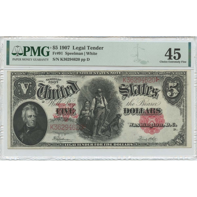 1907 $5 Legal Tender Small Red Scalloped Fr# 91 PMG CH EF45