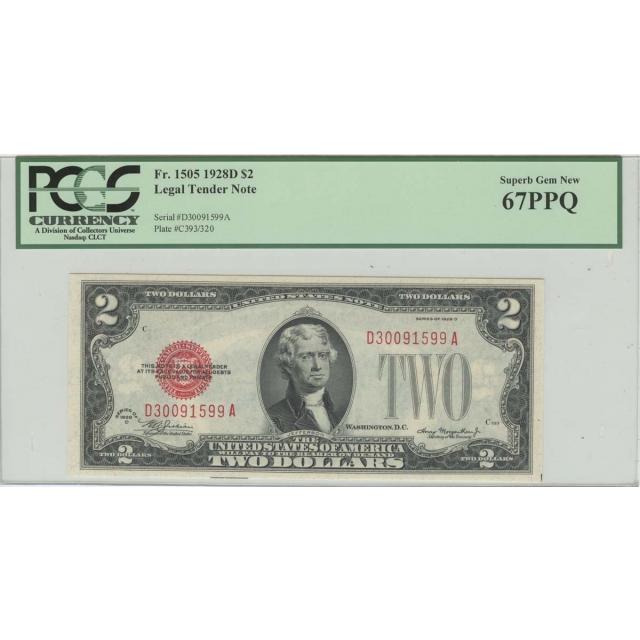 1928D $2 Legal Tender Note FR#1505 PCGS 67 PPQ Superb Gem New