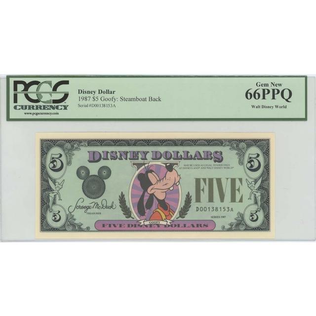 1987 $5 Disney Dollar Goofy Steamboat Back PCGS 66 PPQ GEM Walt Disney