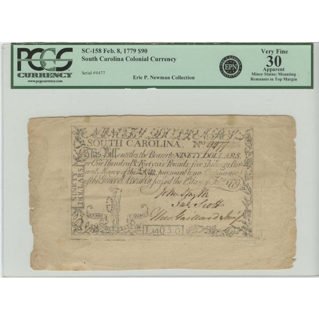 1779 $90 South Carolina Colonial Currency SC-158 PCGS VF30 AP