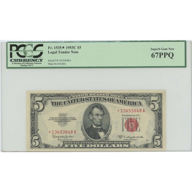 1953C $5 Legal Tender FR#1535* PCGS 67 PPQ Superb Gem Star