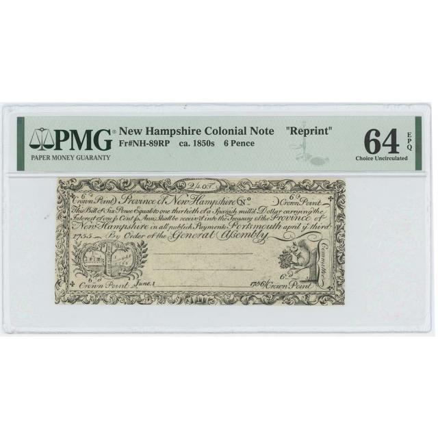 1755/6 New Hampshire 6 Pence NH-89 PMG CU64 EPQ c.1850 Cohen Reprint