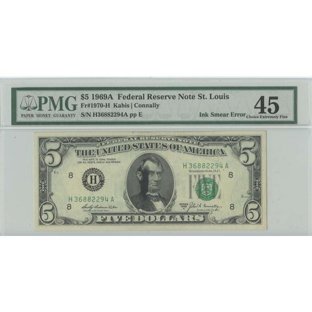 1969A $5 FRN St. Louis FR#1970-H PMG 45 CH EF  Ink Smear ERROR
