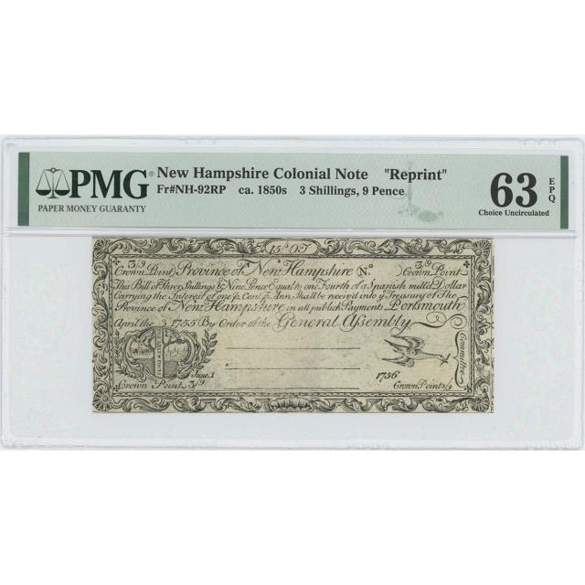 1755/6 New Hampshire 3 Sh 9 pence NH-92 PMG CU63 EPQ c. 1850 Cohen Reprint
