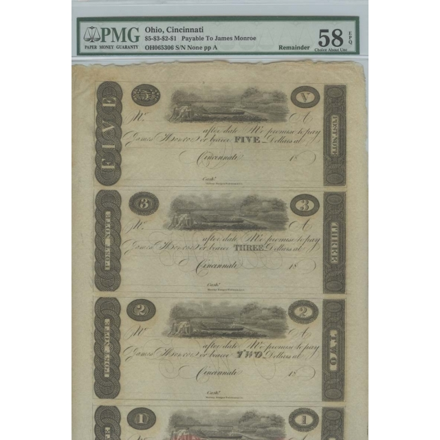 Cincinnati, (OH) $5-$3-$2-$1 18__ Obsolete Sheet PMG Ch AU58 EPQ