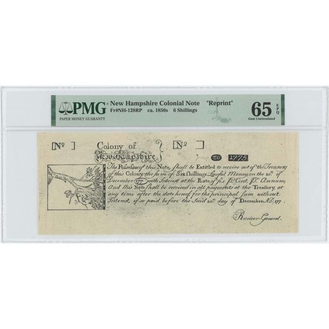 1775 New Hampshire 6 Shilling NH-128 PMG GEM65 EPQ c.1850 Cohen Paul Revere