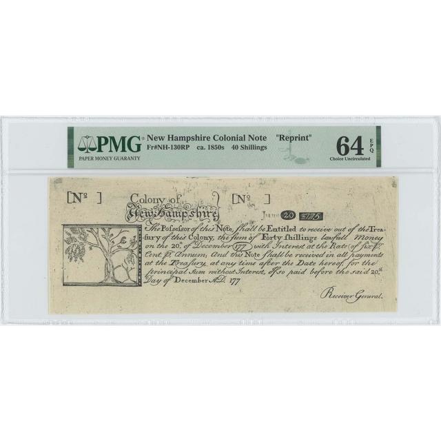 1775 New Hampshire 40 Shilling NH-130 PMG CU64 EPQ c.1850 Cohen Paul Revere