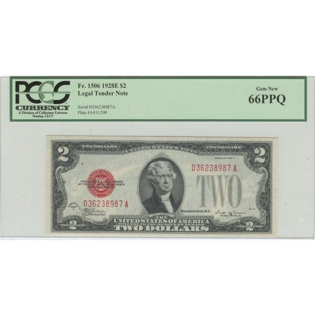 1928E $2 Legal Tender Note FR#1506 PCGS 66 PPQ Gem New