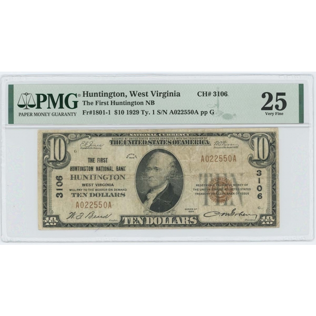 1929 TY1 $10 First Huntington NB West Virginia CH#3106 PMG VF25