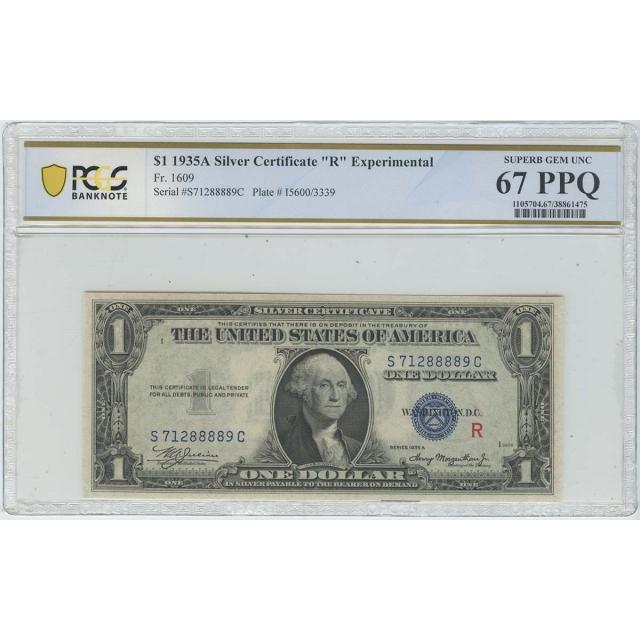 1935A $1 Experimental (R) Silver FR1609 PCGS 67 Superb Gem PPQ