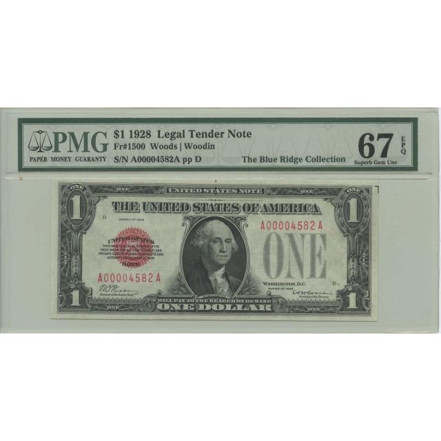 1928 $1 Legal Tender FR#1500 PMG 67 EPQ Superb Gem