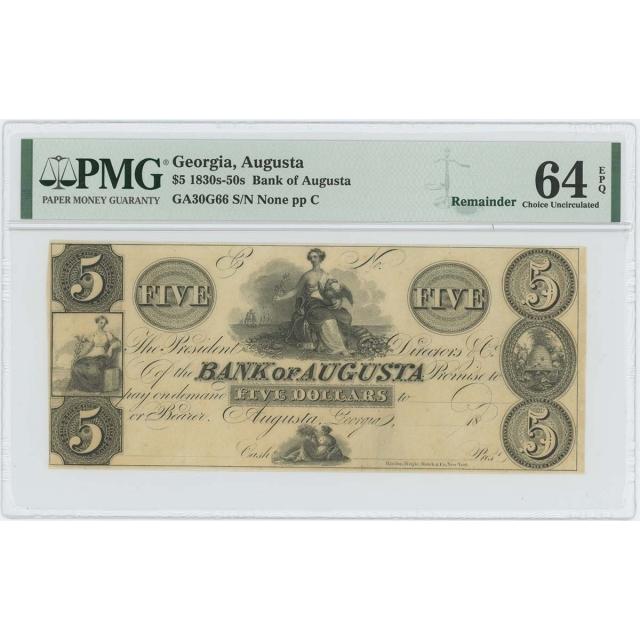 1830s-50s $5 Bank Augusta Georgia Obsolete PMG MS64 CH Unc EPQ