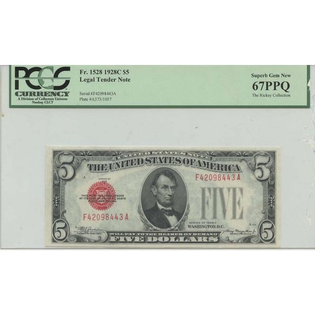 1928C $5 Legal Tender FR#1528 PCGS 67 PPQ Superb Gem