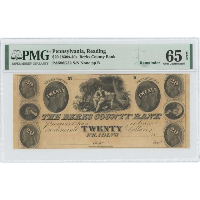 1830-40 $20 Berks County Bank Reading PA Obsolete PMG 65 Gem Unc EPQ