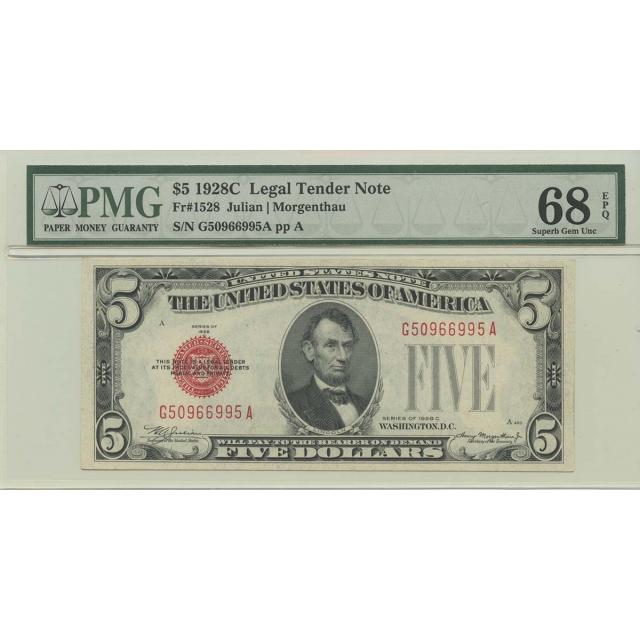 1928C $5 Legal Tender FR#1528 PMG 68 EPQ Superb Gem