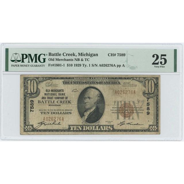 1929 TY1 $10 Merchants NB Battle Creek Michigan CH#7589 PMG VF25