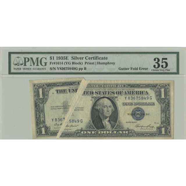 1935E $1 Silver Certificate Error Note Gutter Fold Fr# 1614 PMG 35