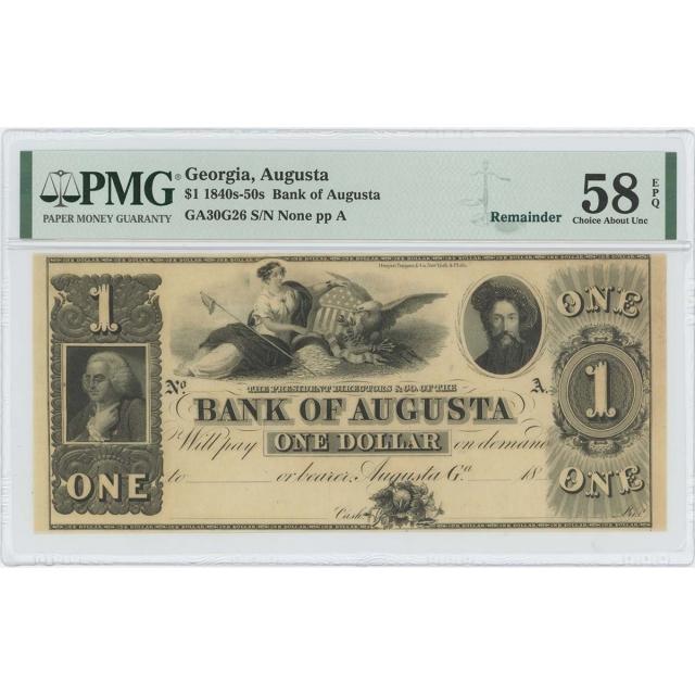 1840-50s $1 Augusta Bank Georgia Obsolete GA30G26 PMG CHAU 58 EPQ