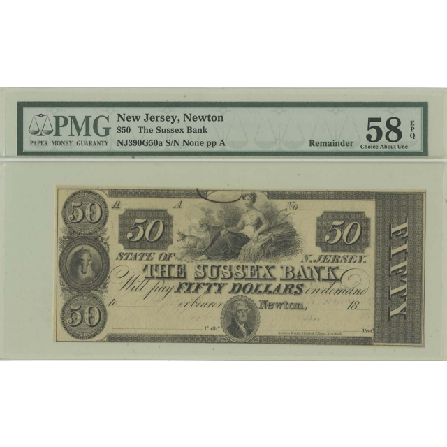 1830s $50 New Jersey  Sussex Bank PMG 58 EPQ