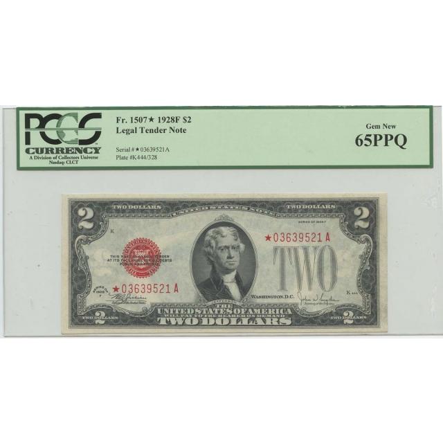 1928F $2 Legal Tender Star Note FR#1507* PCGS 65 PPQ Gem New