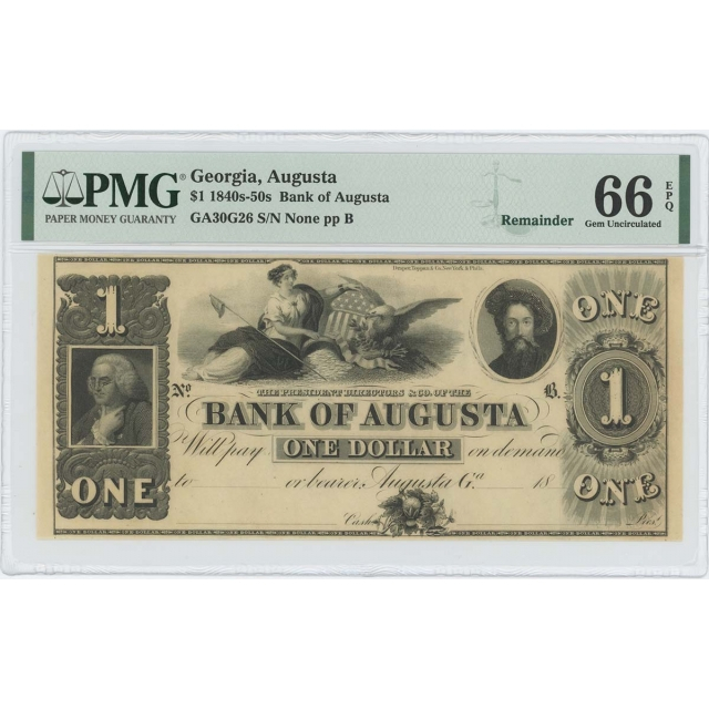 1840s 50s $1 Augusta Georgia Obsolete PMG 66 Gem EPQ