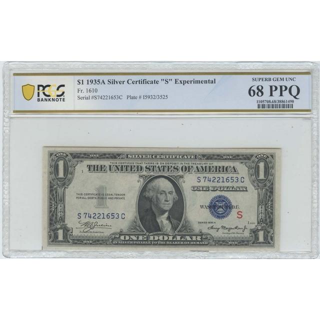 1935A $1 Experimental (S) FR1610 SC PCGS Superb Gem 68 PPQ