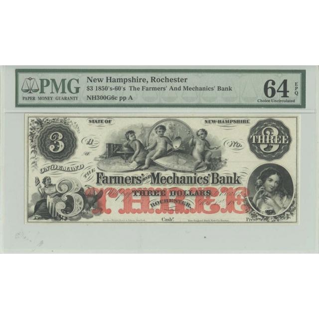 1850s-60s $3 New Hampshire, Rochester PMG 64 CH UNC EPQ