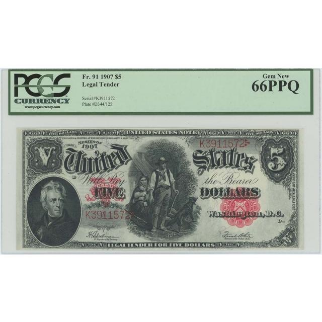 1907 $5 Legal Tender Note FR#91 PCGS Gem66 PPQ