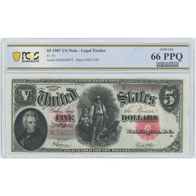 1907 $5 Legal Tender FR#91 PCGS Banknote Gem 66 PPQ